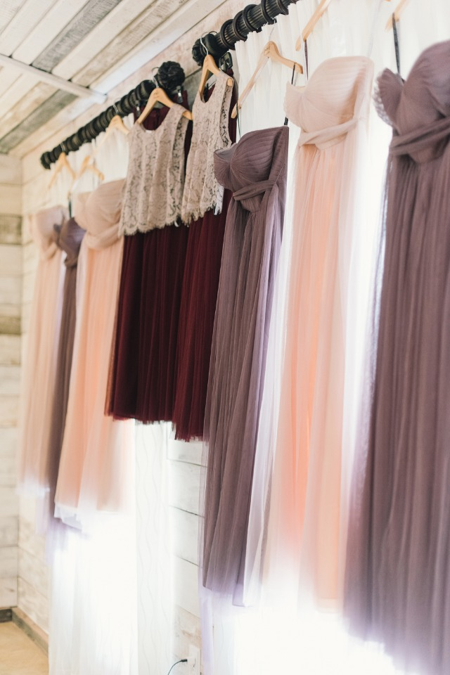 berry toned bridesmaid dresses
