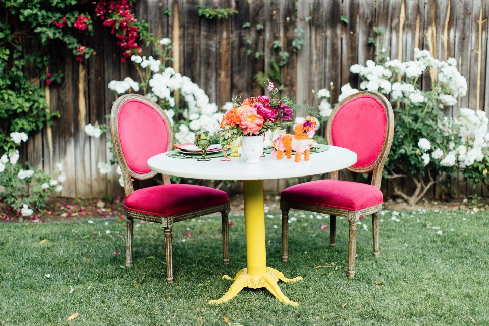 Colorful sweetheart table for two
