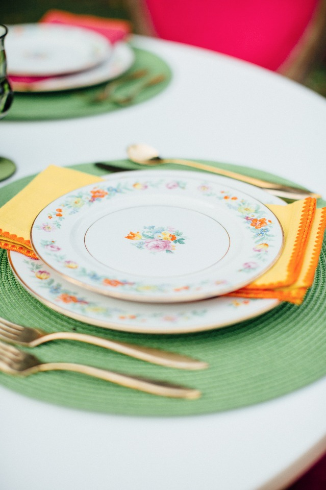 Green and yellow table setting