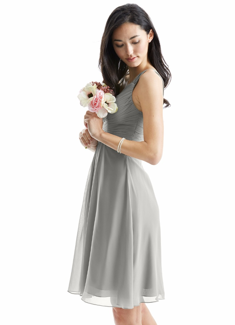 Dress your bridesmaids with our Clara dress in silver!
