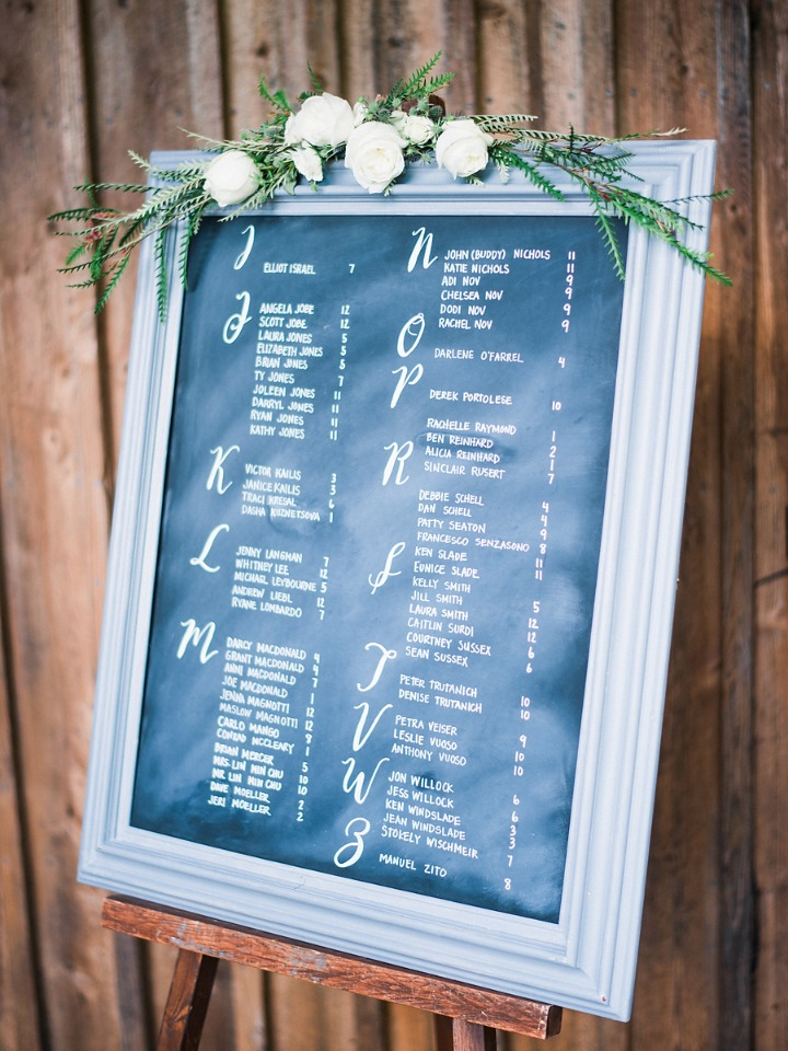 chalkboard wedding seating chart