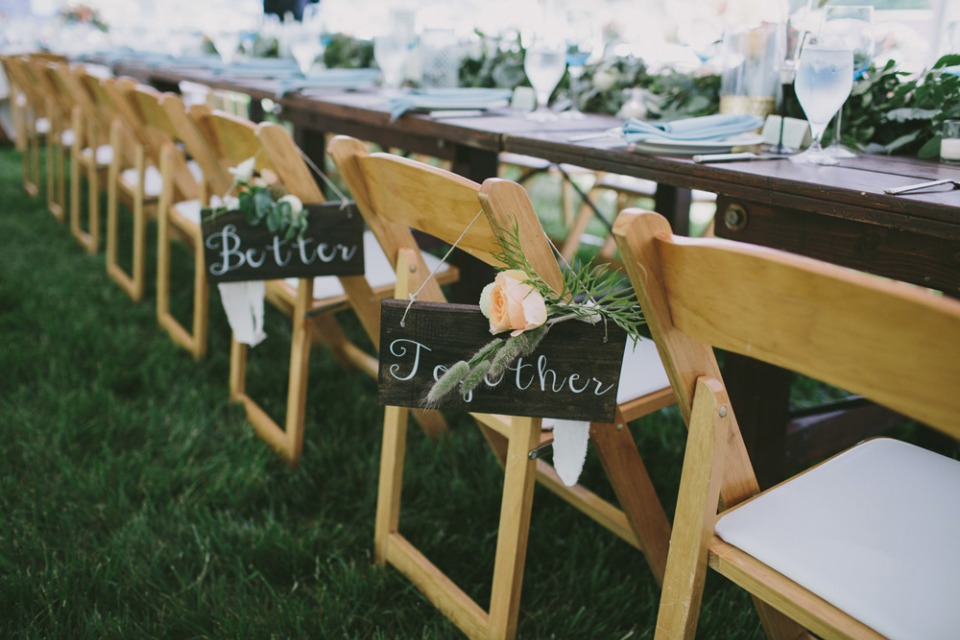 Better together chair signs for the bride and groom