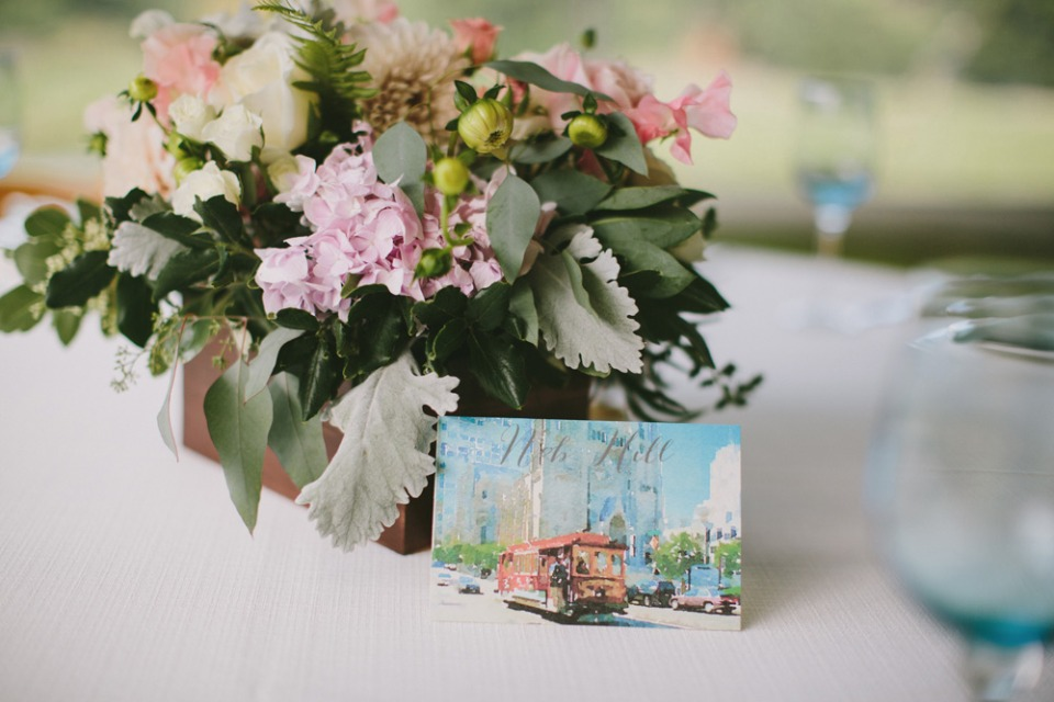 Floral centerpiece and post card table number