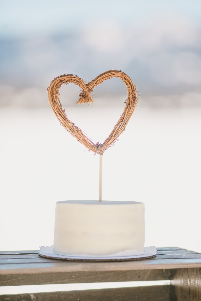 rustic heart shaped cake topper