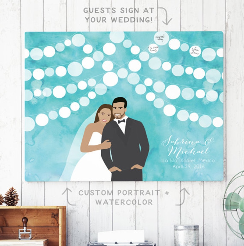 Miss Design Berry's watercolor guest book alternative features a custom couple portrait with a watercolor sky in the background!