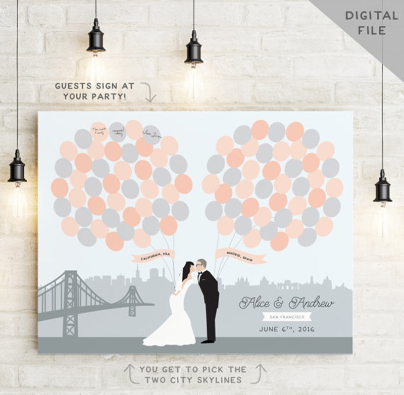 Miss Design Berry's printable guest book alternative print features TWO city skylines - one behind the bride, and one behind the groom