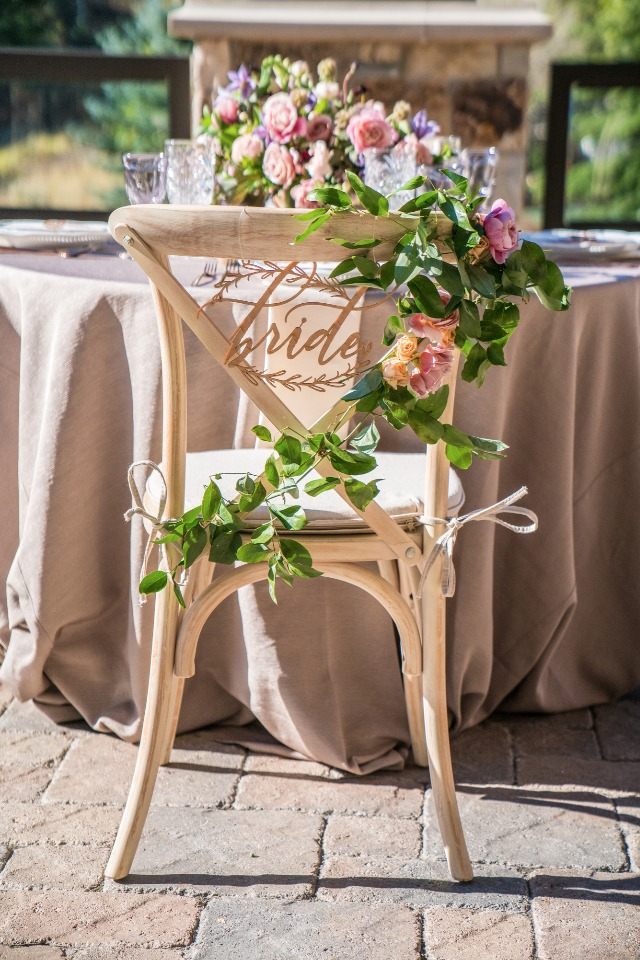Brides chair with a garland