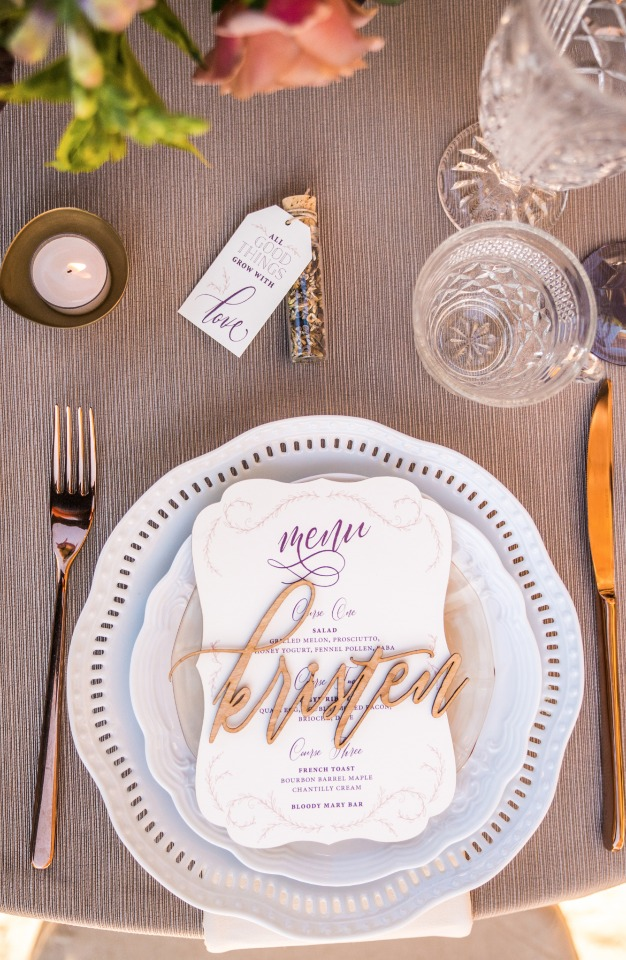 Bridal luncheon place setting