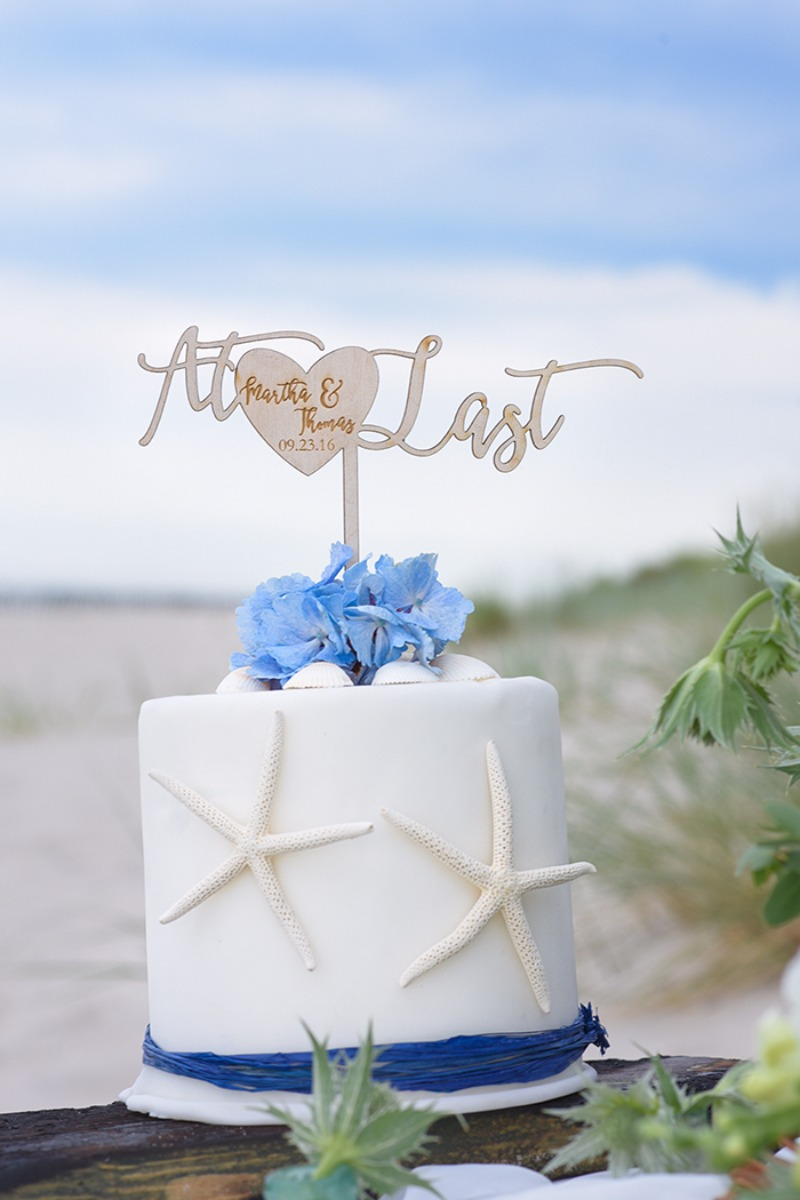 At Last <3 wooden wedding cake topper customized with your details