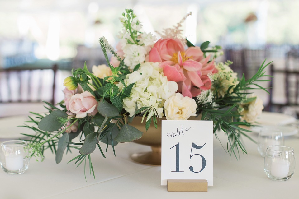 cascading wedding centerpiece with table number