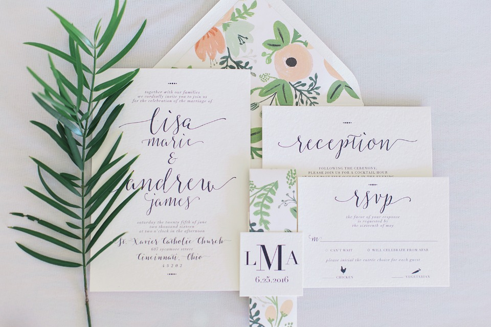 Rifle Paper Co inspired wedding invitations