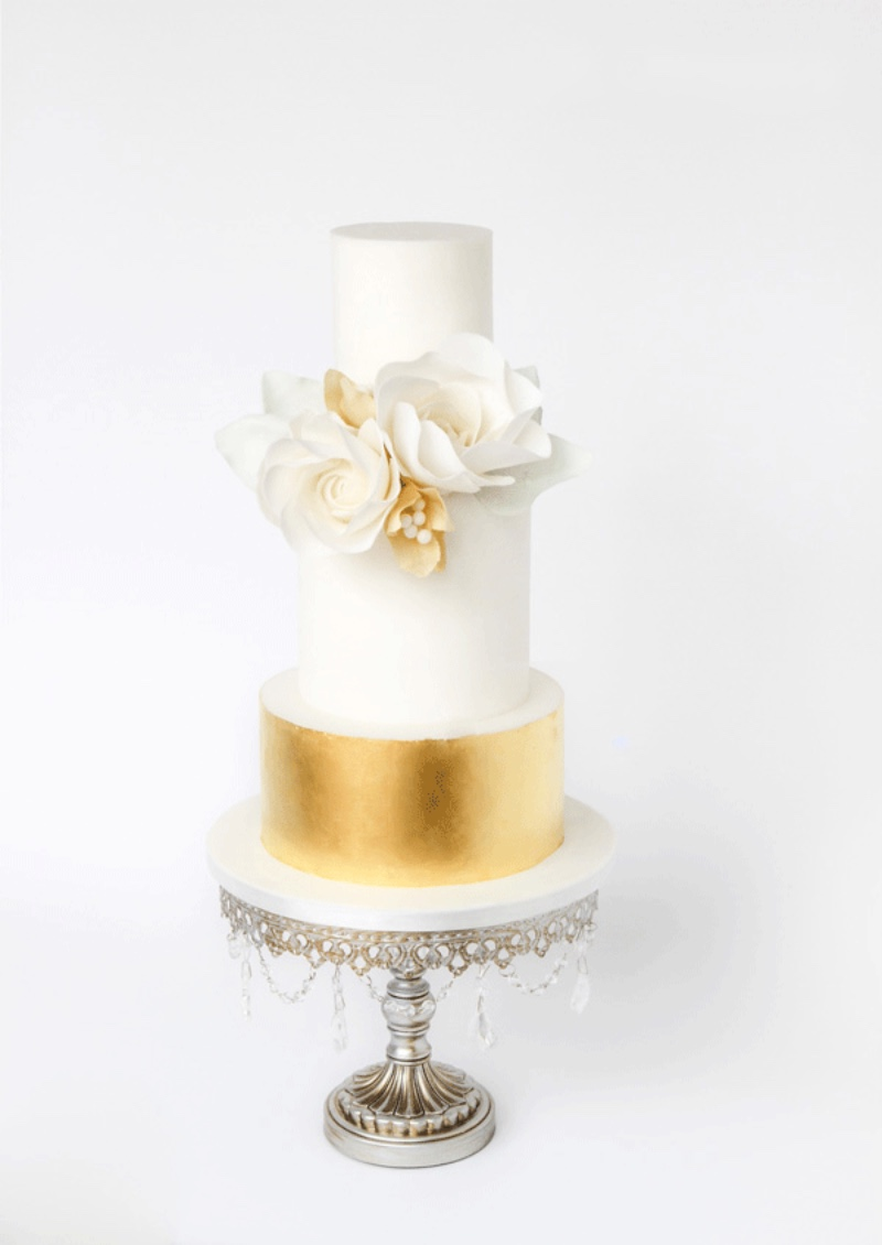 Gorgeous Gold & White Wedding Cake on Antiqued Silver Chandelier Cake Stand by Opulent Treasures