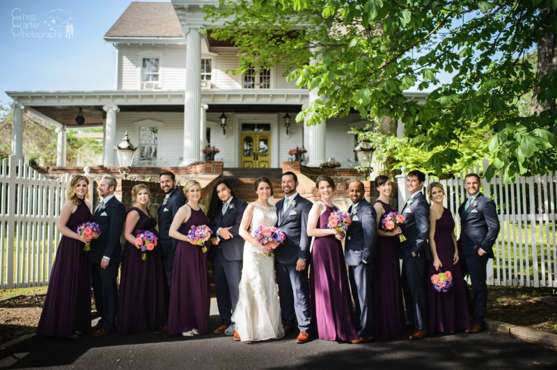Bridal Party in front of FEAST at Round Hill, Hudson Valley wedding venue. Photo by Chris Carter Photography.