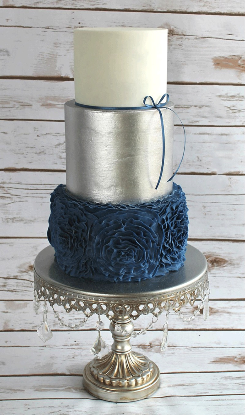 Navy Blue & Silver Wedding Cake on Antique Silver Chandelier Cake Stand by Opulent Treasures