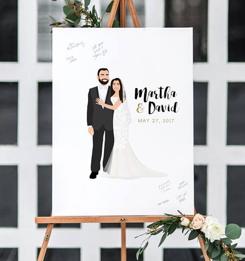 Miss Design Berry's Wedding Guest Book Alternative with Portrait is the perfect way to add a fun wedding portrait to the decor of your