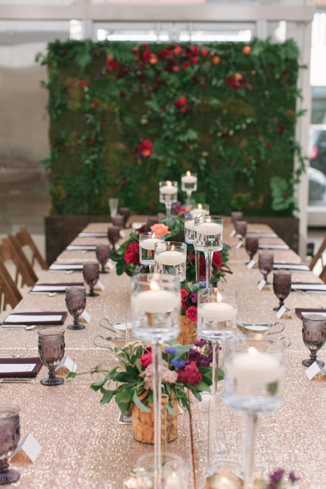 gold and gem stone themed wedding table