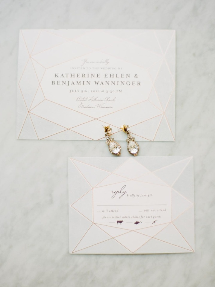 geometric gemstone inspired wedding stationery from Minted