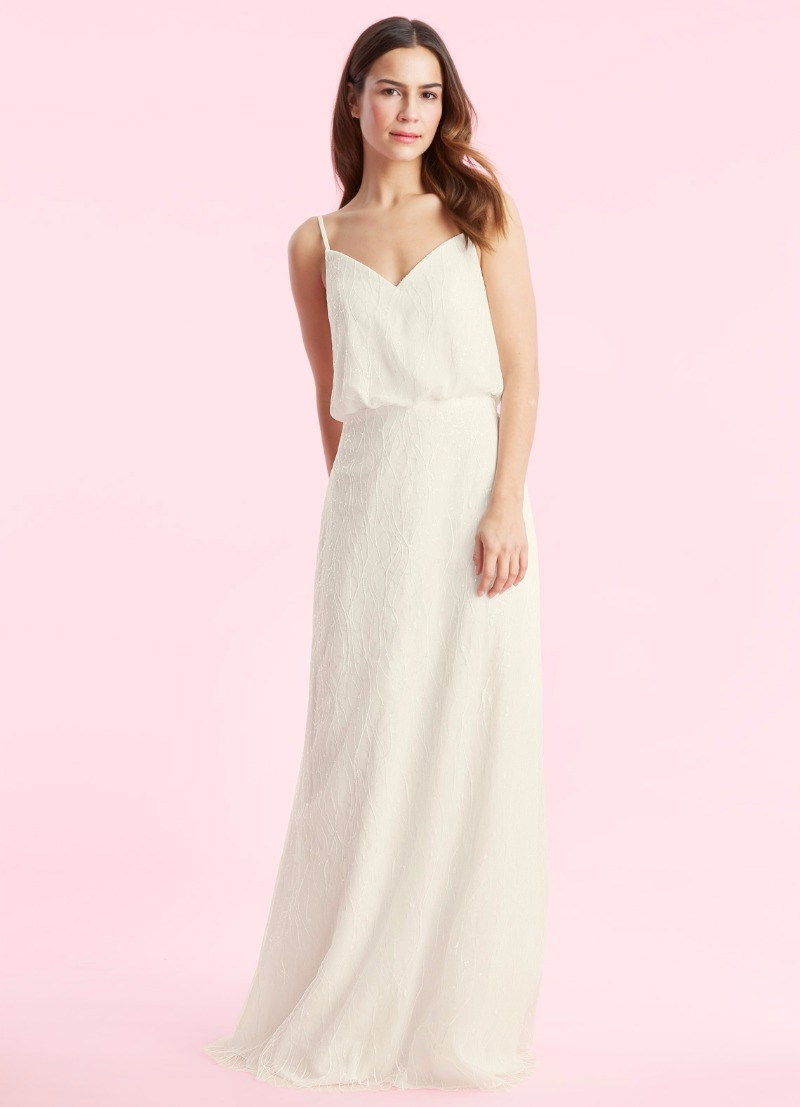 Go out of the box with our Winter bridal gown in champagne!