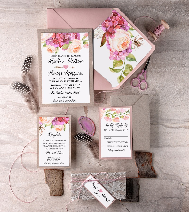 Pink eco wedding invitation in boho style