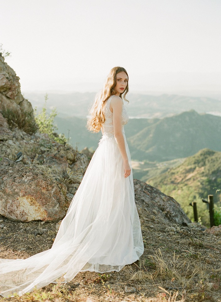 romantic tulle wedding gown by Claire Pettibone