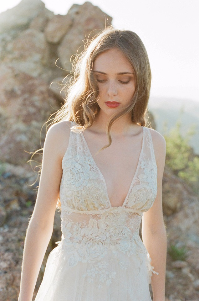 Lacy wedding gown designed by Claire Pettibone