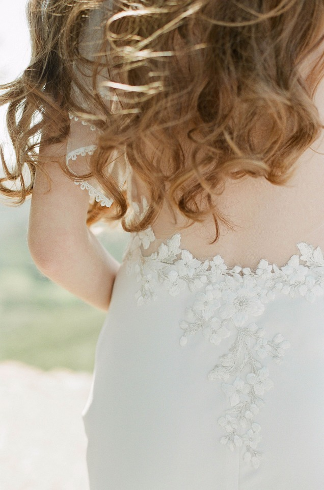 embroidered wedding gown with sexy back by Claire Pettibone