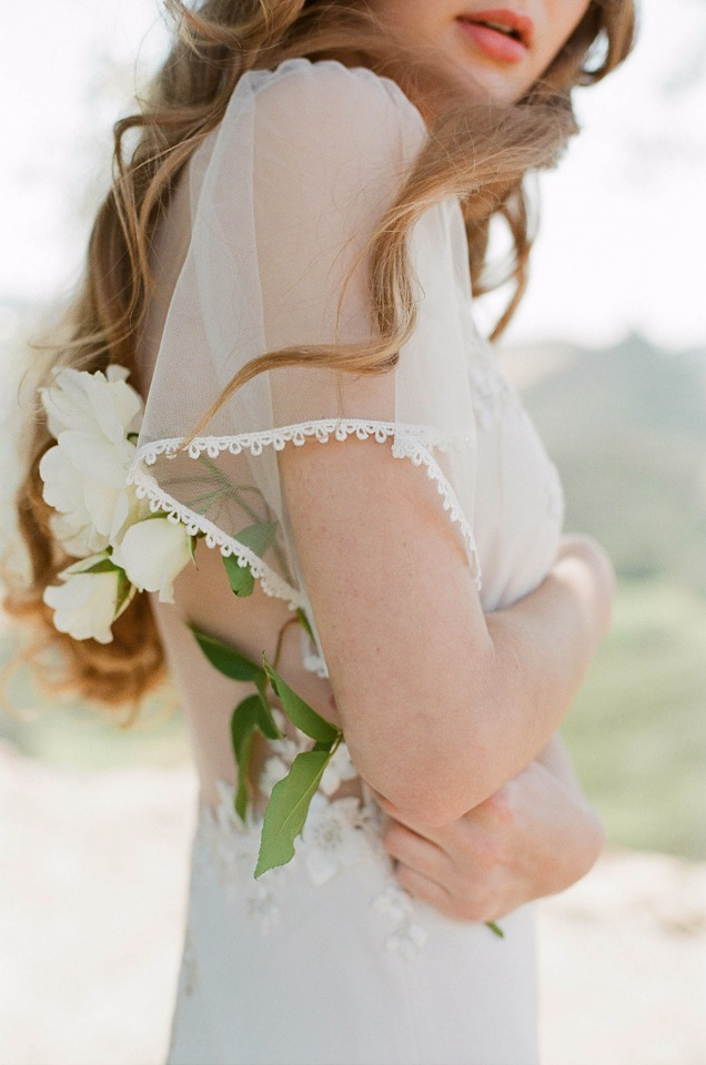 romantic wedding gown with sheer sleeves