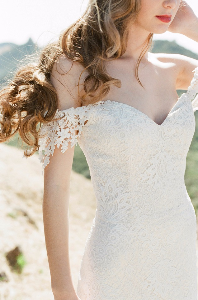 off the shoulder romantic lace wedding gown