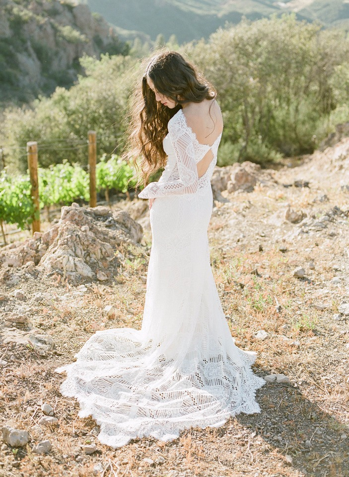romantic yet boho wedding gown by Claire Pettibone