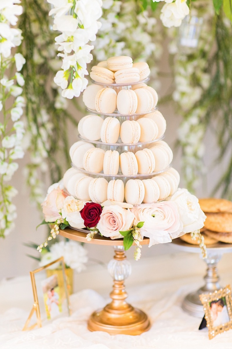 Macaron Tower on Gold Chandelier Ball Pedestal Base Cake Stand by Opulent Treasures
