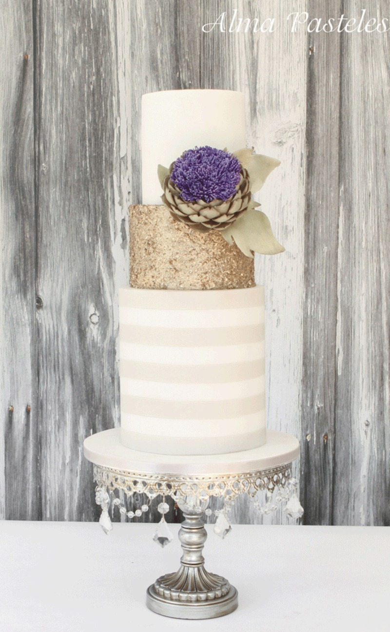 Antique Silver, Champagne Gold & White Wedding Palette: Tiered Cake on Chandelier Cake Stand by Opulent Treasures