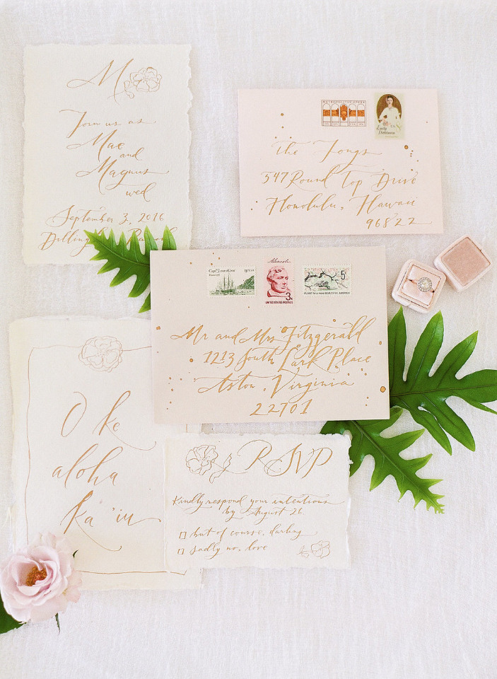 hand calligrpahy wedding invites in gold