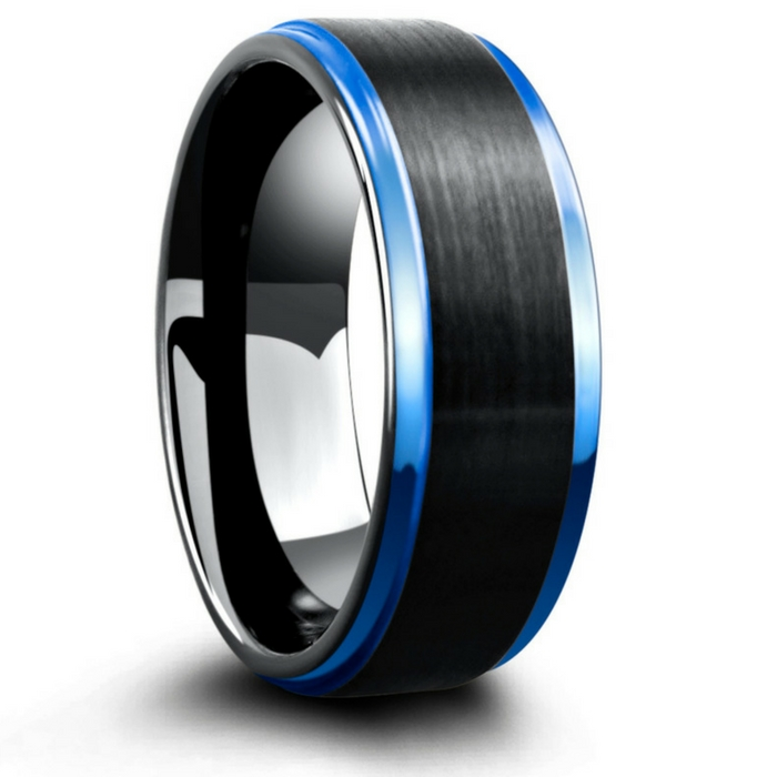 Mens blue and black tungsten wedding ring. Raised black brushed center leading into high polish blue step down edges.