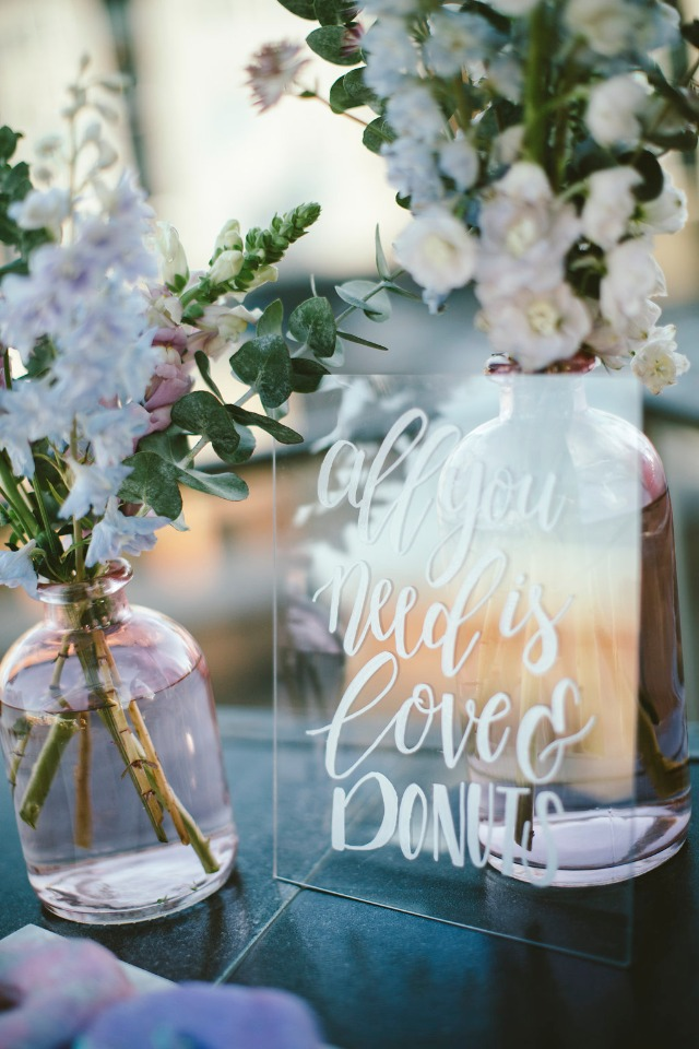 all you need is love and donuts wedding sign