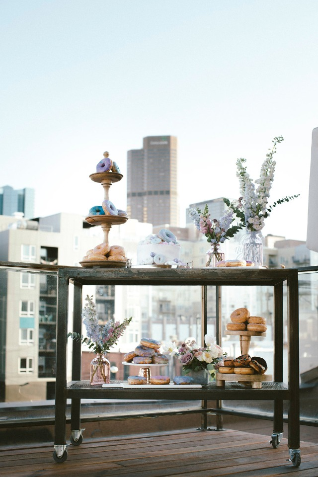 cake and donut table for your roof top wedding reception