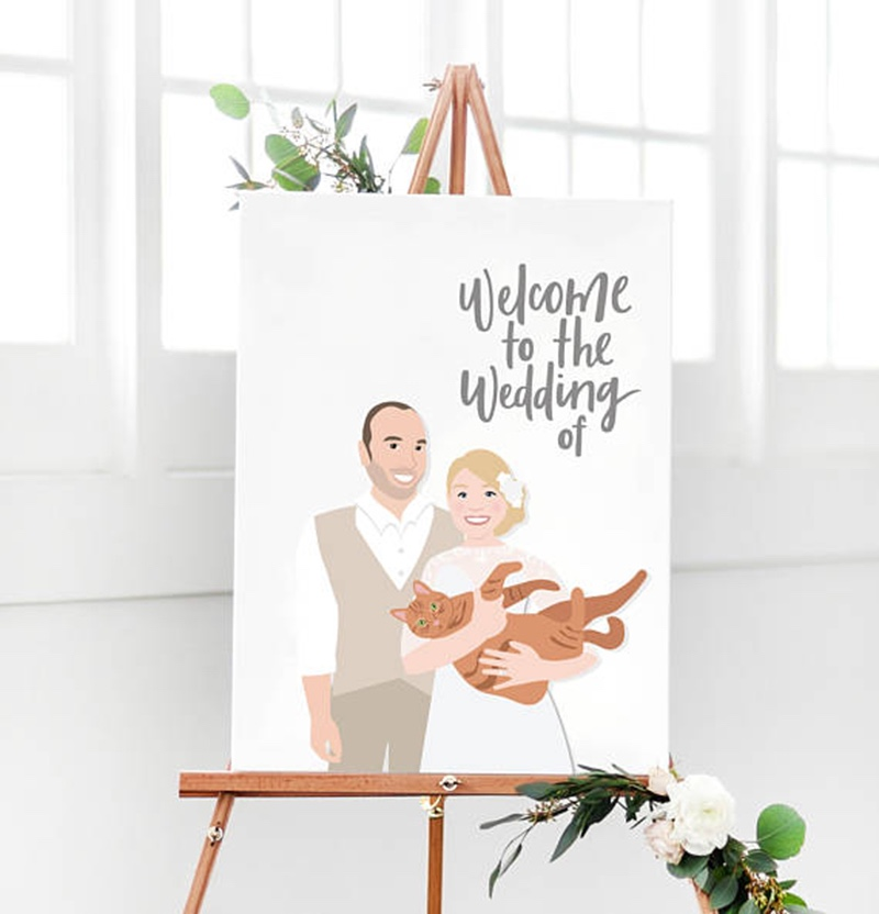 Miss Design Berry's wedding welcome sign features a custom illustrated portrait of the bride and groom, and your names, date, an any