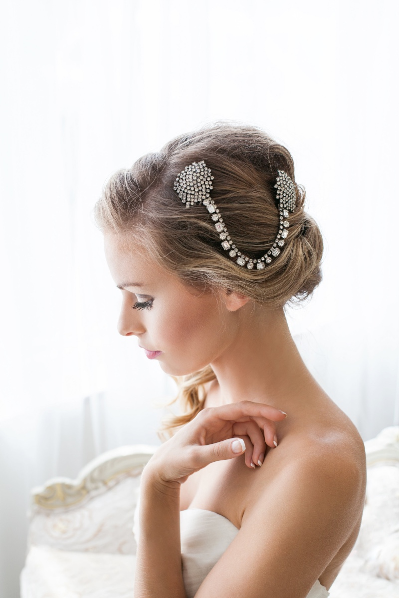 Gorgeous bespoke hair jewelry all designed from vintage jewels.