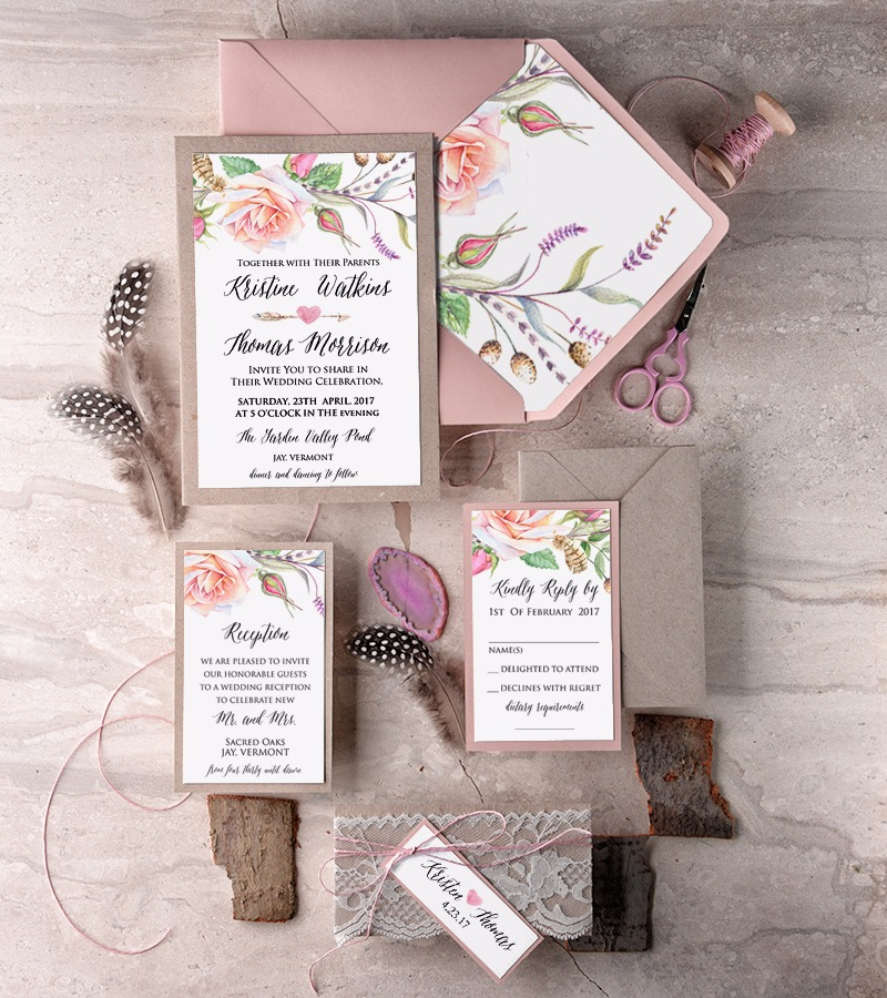 Pink floral wedding invitation in boho style
