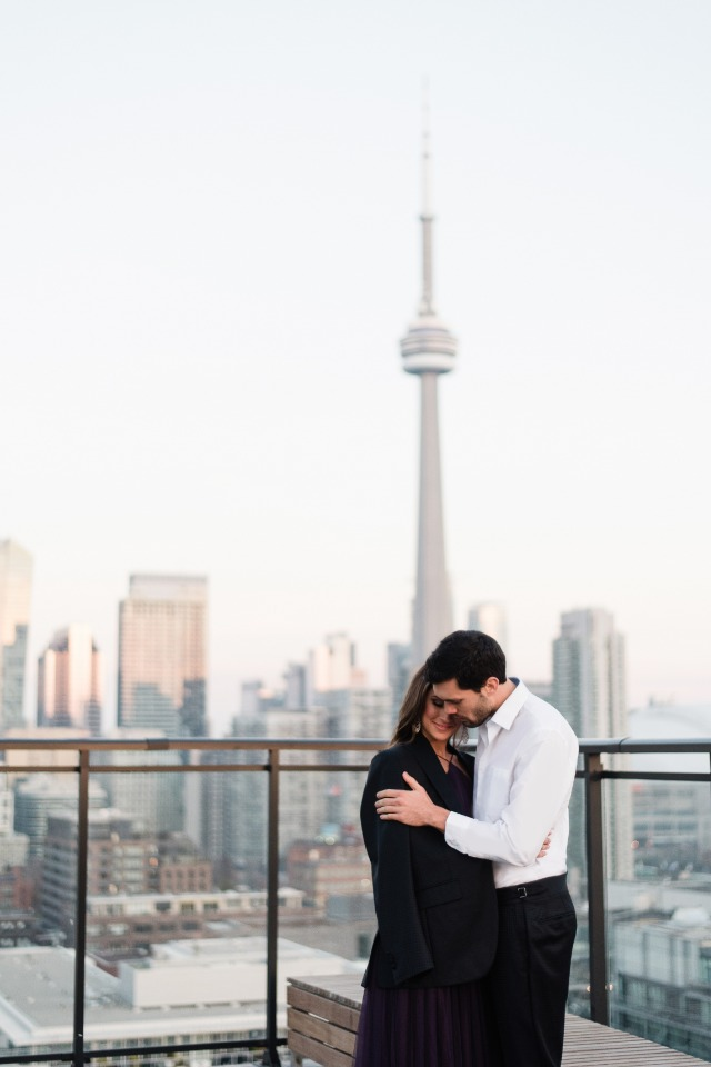 Feeling all the feels at this glam rooftop engagement