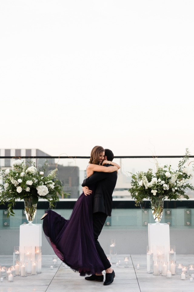 She said yes! Glam rooftop engagement in Toronto