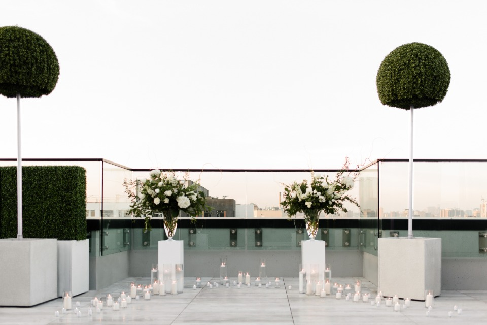 Glam rooftop proposal decor