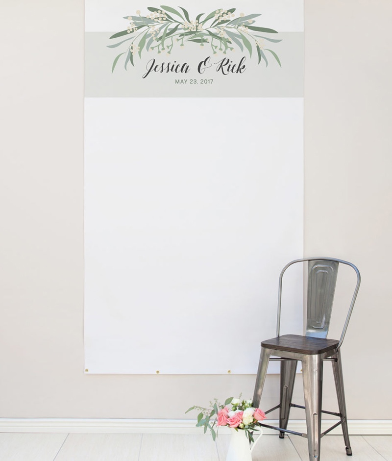Miss Design Berry's Greenery wedding backdrop makes the perfect wedding reception decor. It is made of sturdy matte vinyl that is suitable