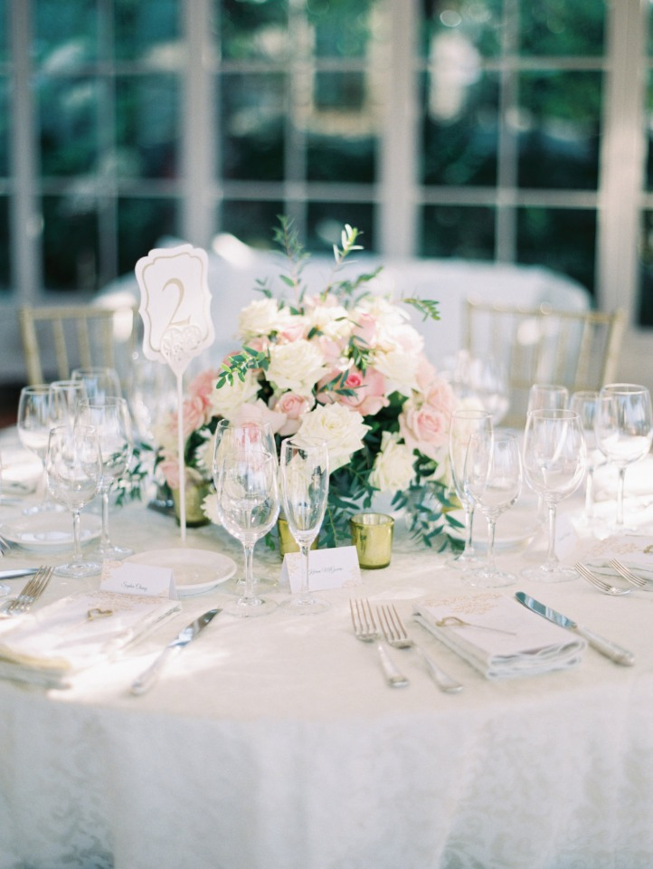 formal wedding reception in blush and ivory