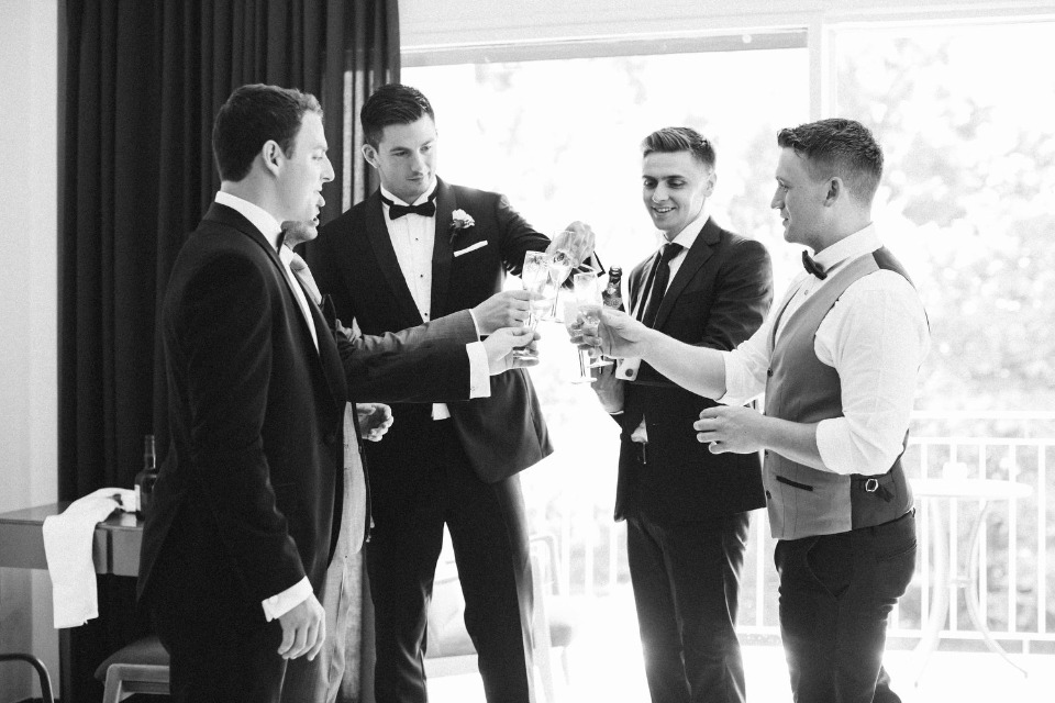 pre wedding groomsmen cheers