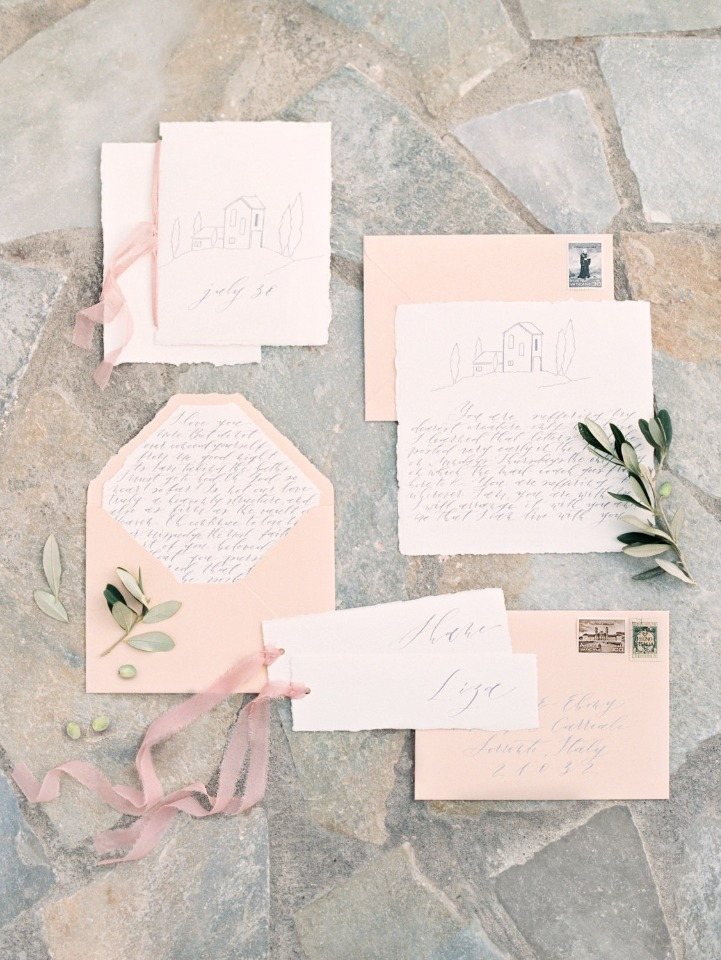 Hand calligraphy wedding invitation suite in blush