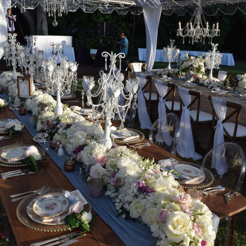 Opulent Treasures Lilac Taper White Candelabra ~ Create dramatic gorgeous flower and candle wedding tablescapes.