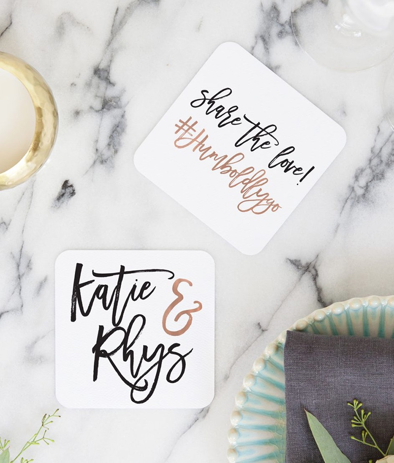 Miss Design Berry's Personalized Wedding Hashtag Coasters are a great way to add a personal touch to your wedding reception or rehearsal