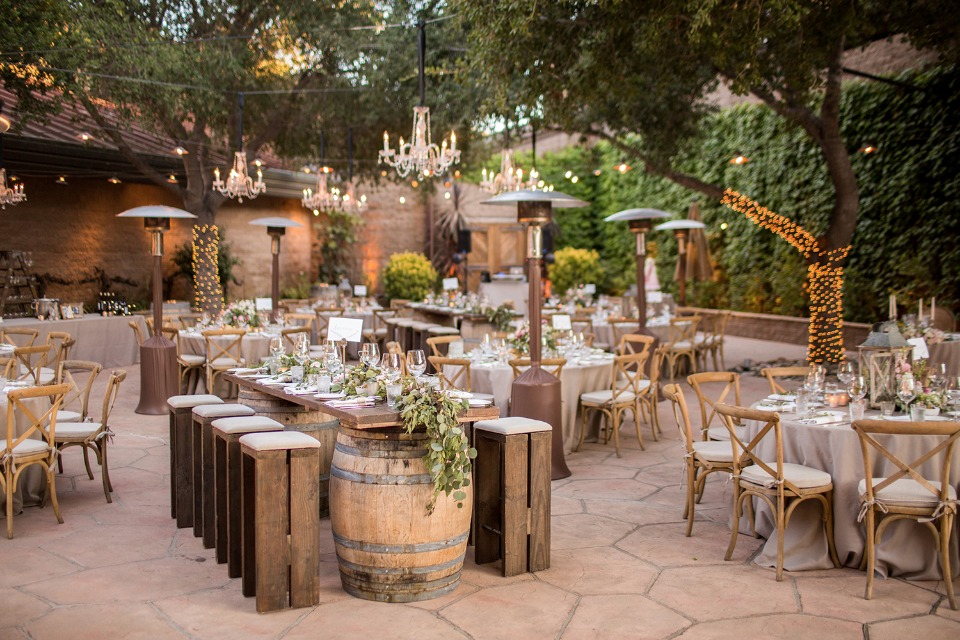 Stylish rustic outdoor reception at Firestone vineyard