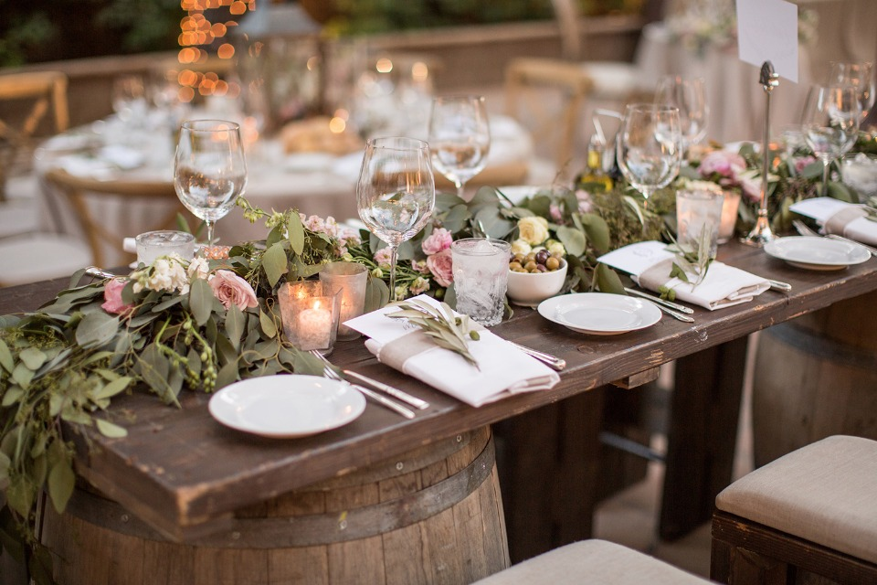 Reclaimed wood rustic table setting