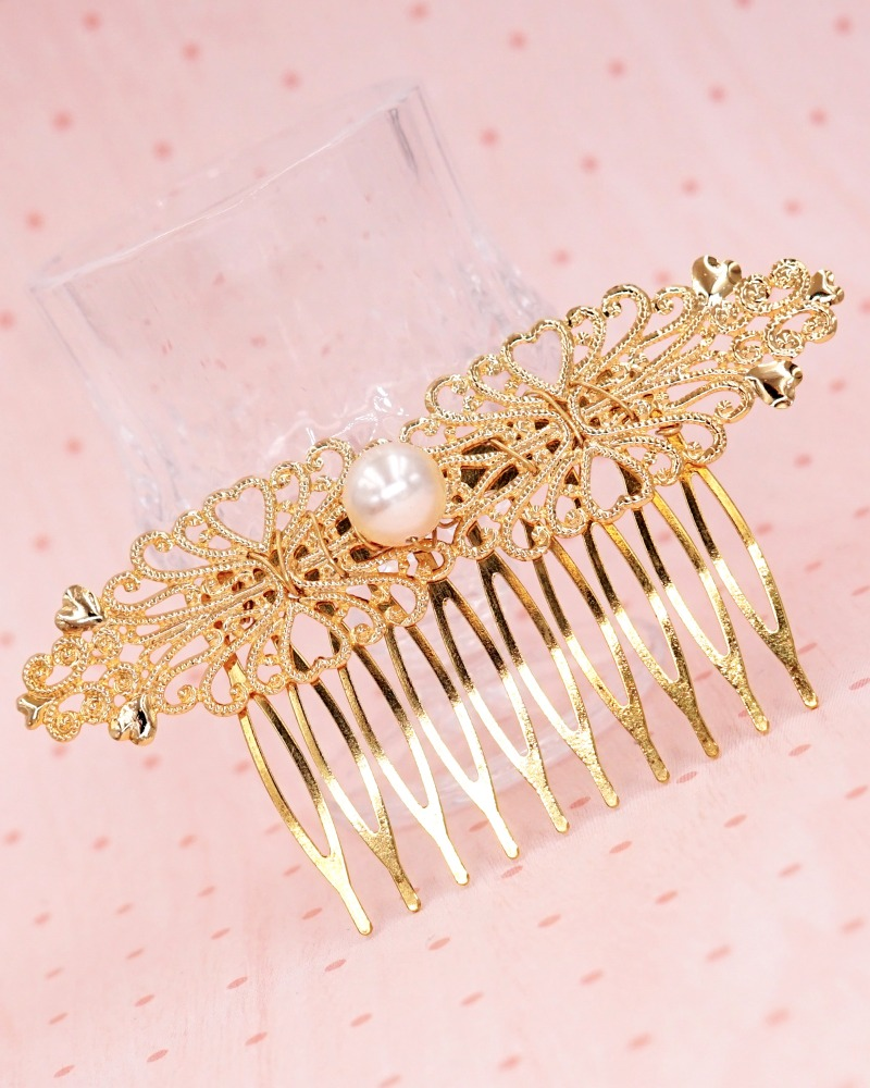 Simple Filigree Hair Comb with pearl, pearl hair comb, gold, bridesmaid hair comb, boho style, vintage style, rustic wedding, bridal